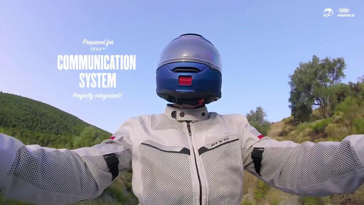 Video Cască Moto Flip-Up SHOEI NEOTEC-II RESPECT TC-10 · Negru / Albastru / Alb / Roșu