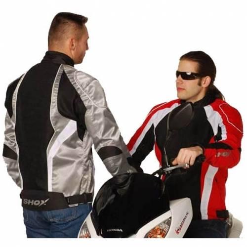 Geacă Moto din Textil SHOX VIPER · Alb / Gri / Negru