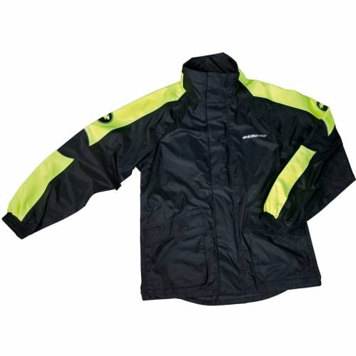 Geacă Moto de Ploaie BERING MANIWATA · Negru / Verde Fluo