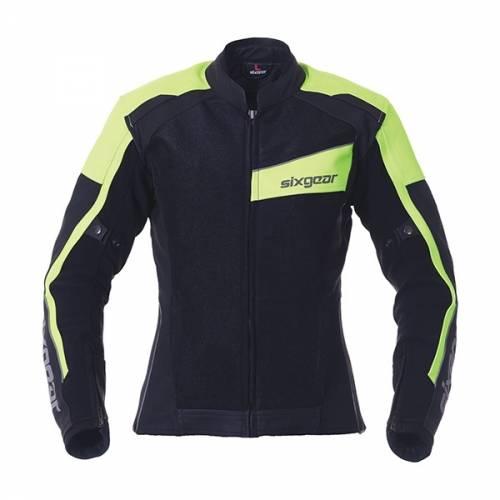 Geacă Moto Damă din Piele & Textil SIXGEAR SWITCH · Negru / Verde-Fluo