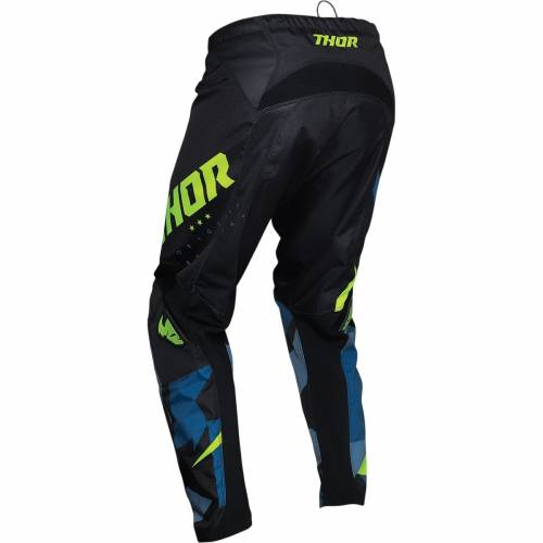 Pantaloni Enduro Copii THOR YOUTH SECTOR WARSHIP · Negru / Albastru / Verde-Fluo