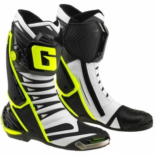 Cizme Moto Sport din Piele & Textil GAERNE GP1 EVO · Alb / Negru / Galben-Fluo