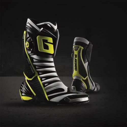 Cizme Moto Sport din Piele & Textil GAERNE GP1 EVO · Alb / Negru / Galben Fluo