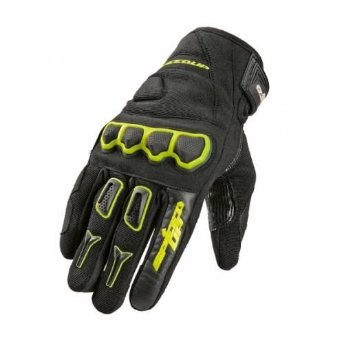 Mănuși Moto din Piele & Textil SPEED UP ATON · Negru / Verde-Fluo