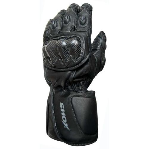 Mănuși Moto din Piele SHOX TRACK · Negru