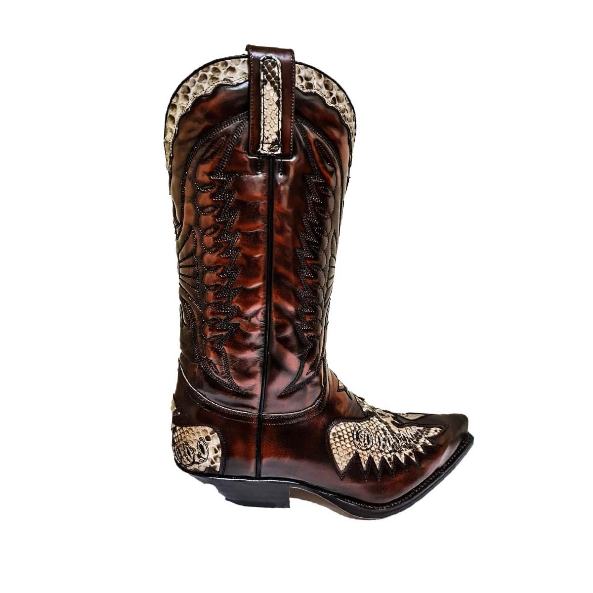Cizme Exotice / Cowboy Unisex SENDRA BOOTS 2720 Florentic Fuchsia Boa · Negru / Maro