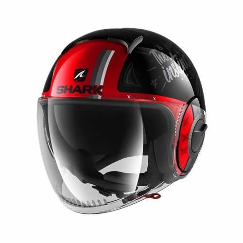 Cască Moto Open Face SHARK NANO TRIBUTE · Negru / Roșu