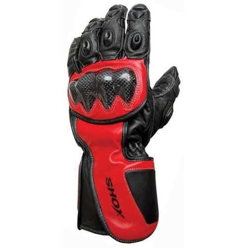 Mănuși Moto din Piele SHOX TRACK · Roșu / Negru