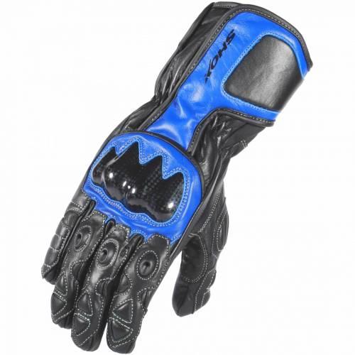 Mănuși Moto din Piele SHOX TRACK · Albastru / Negru