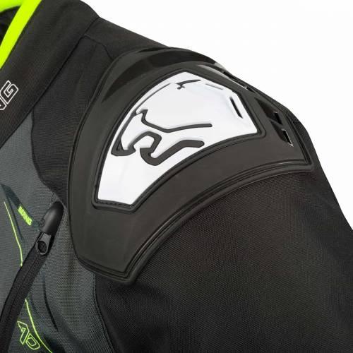Geacă Moto din Textil BERING START-R · Negru / Gri / Verde Fluo