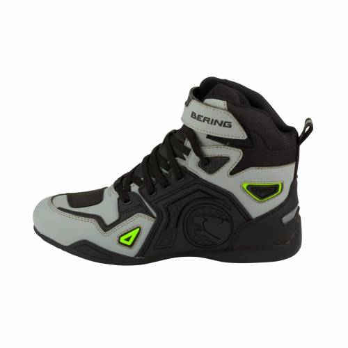 Ghete Moto din Piele & Textil BERING HORACE · Gri / Negru / Verde Fluo