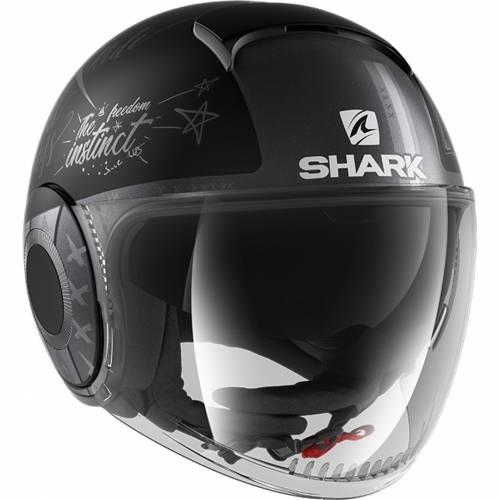Cască Moto Open Face SHARK NANO TRIBUTE · Negru / Gri