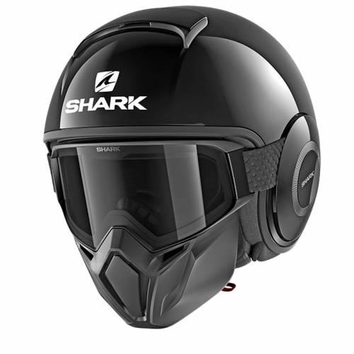 Cască Moto Open Face SHARK STREET DRAK BLANK · Negru