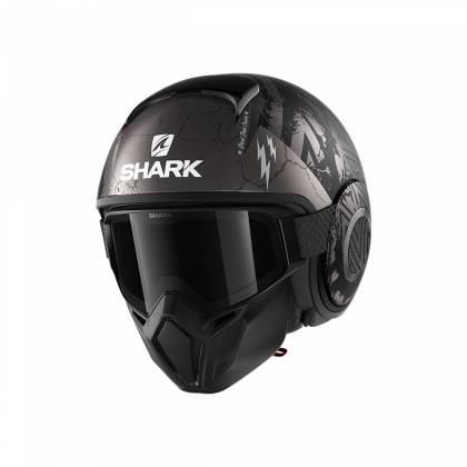Cască Moto Open Face SHARK STREET DRAK HUROK · Negru / Gri / Verde Fluo