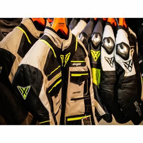 Geacă Moto din Textil SIXGEAR VIKRAN · Gri / Verde Fluo / Negru