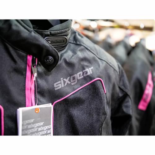 Geacă Moto Damă din Textil SIXGEAR ASTRID · Negru / Roz