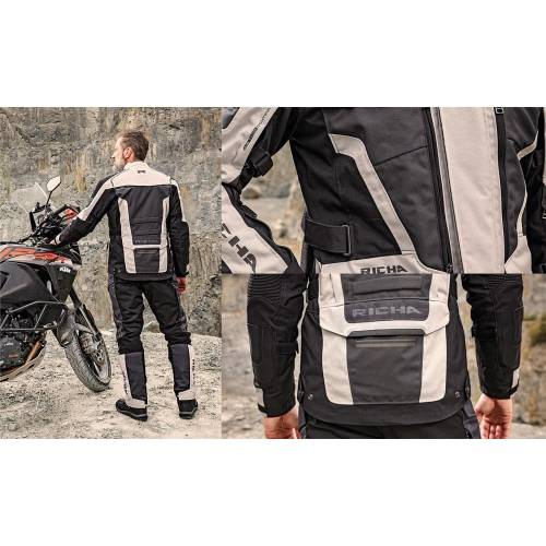 Geacă Moto din Textil RICHA TOUAREG 2 · Gri / Negru