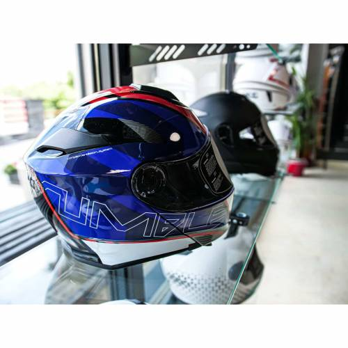 Cască Moto Flip-Up JET RUMBLE Lithium · Albastru / Roșu / Negru