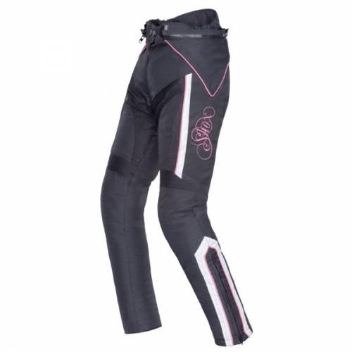 Pantaloni Moto Damă din Textil SHOX TIANA · Alb / Negru / Roz