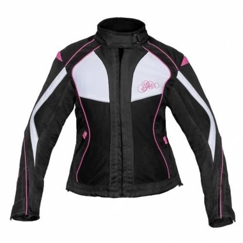 Geacă Moto Damă din Textil SHOX TIANA · Alb / Negru / Roz
