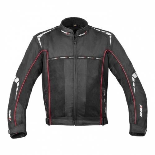 Geacă Moto din Textil SHOX 3 LAYER · Alb / Negru / Roșu