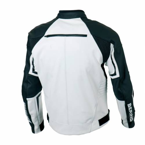 Geacă Moto din Piele & Textil BERING LYNX · Alb / Negru