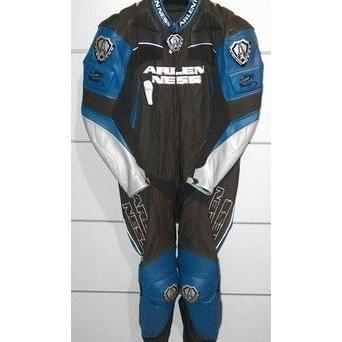Combinezon Moto din Piele ARLEN NESS · Negru / Albastru / Alb