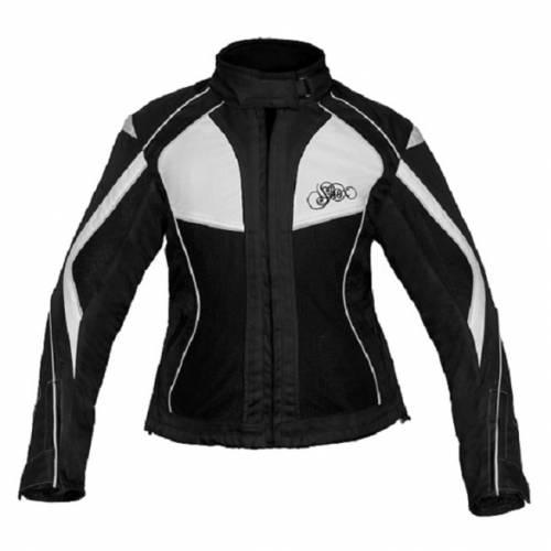 Geacă Moto Damă din Textil SHOX TIANA · Negru / Alb