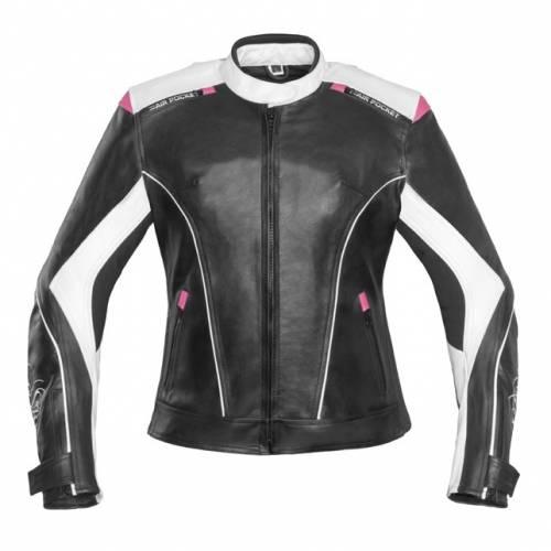 Geacă Moto Damă din Piele & Textil SHOX ALICE · Alb / Negru / Roz