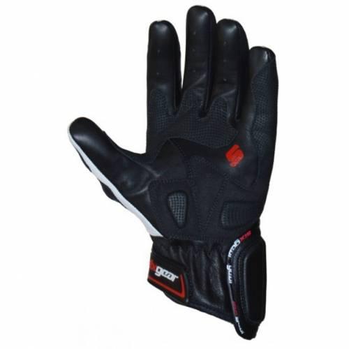 Mănuși Moto din Piele & Textil SIXGEAR BOULEVARD · Negru / Alb