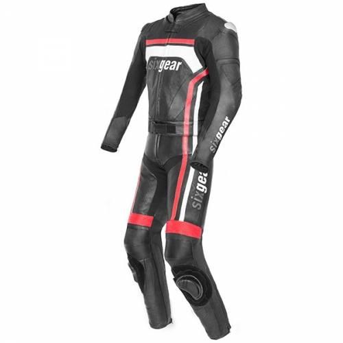 Combinezon Moto din Piele & Textil SIXGEAR EVO · Negru / Roșu / Alb