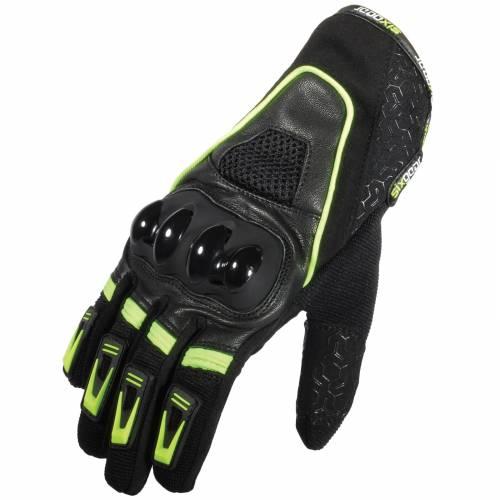 Mănuși Moto din Piele & Textil SIXGEAR NEXT · Negru / Verde-Fluo