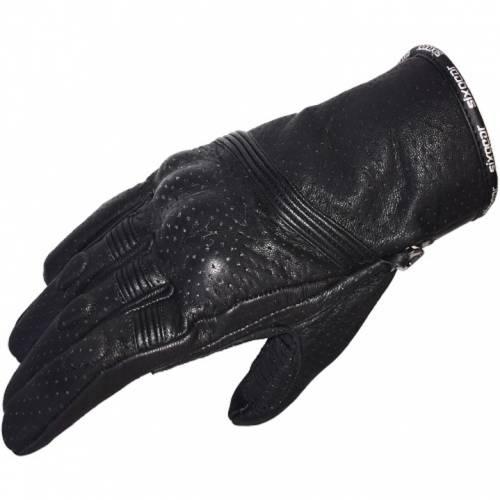 Mănuși Moto din Piele Perforată SIXGEAR FLY · Negru