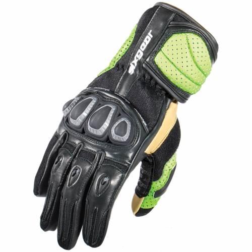 Mănuși Moto din Piele Perforată & Textil SIXGEAR SPYDAIR · Negru / Verde-Fluo