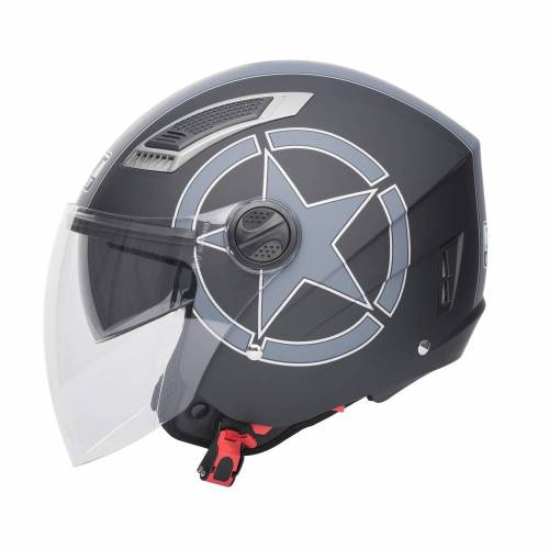 Cască Moto Open Face JET SONIC BLACK STAR · Negru / Gri