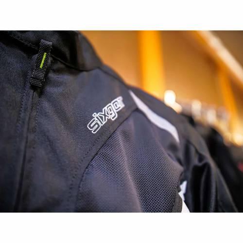 Geacă Moto din Textil SIXGEAR SALTON · Negru / Verde Fluo