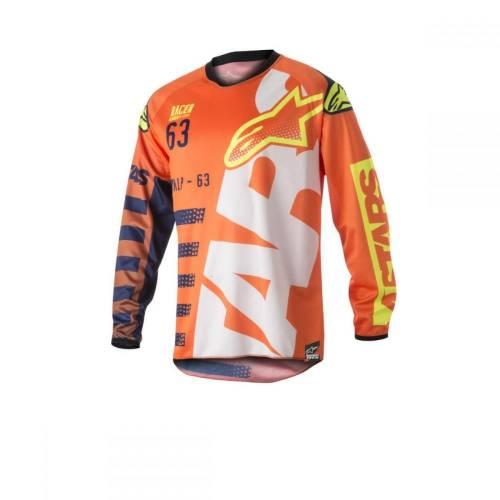 Tricou ALPINESTARS RACER BRAAP S8 - portocaliu/albastru/alb/galben
