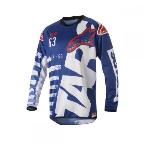 Tricou ALPINESTARS RACER BRAAP S8 - albastru/alb/roșu