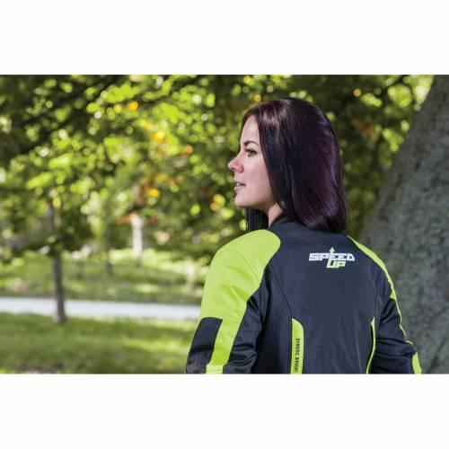 Geacă Moto Damă din Textil SPEED UP LILY · Negru / Verde-Fluo