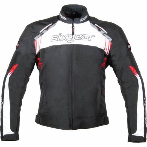 Geacă Moto din Textil SIXGEAR STRIKER · Negru / Alb