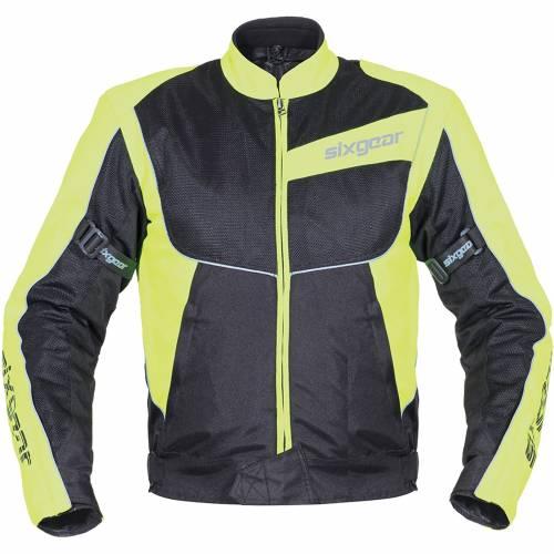 Geacă Moto din Textil SIXGEAR PATROL · Negru / Verde-Fluo