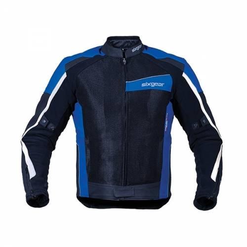 Geacă Moto din Piele & Textil SIXGEAR SWITCH · Alb / Albastru / Negru