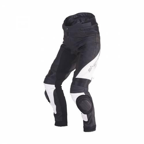 Pantaloni Moto din Piele & Textil SIXGEAR BLAZE · Alb / Negru