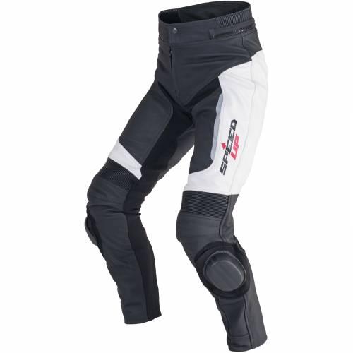 Pantaloni Moto din Piele & Textil SPEED UP TRIP · Negru / Alb