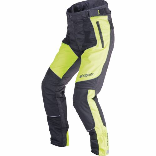 Pantaloni Moto din Textil SIXGEAR PATROL · Negru / Verde-Fluo