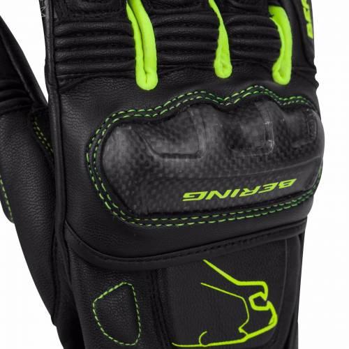 Mănuși Moto din Piele BERING BOOST-R · Negru / Verde-fluo