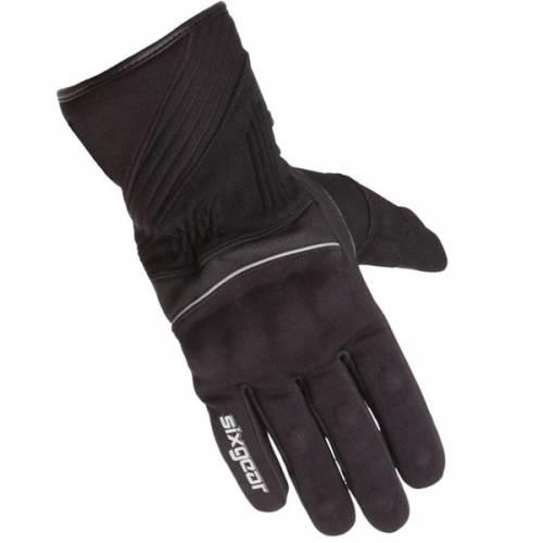 Mănuși Moto din Piele & Textil SIXGEAR HUSKY · Negru