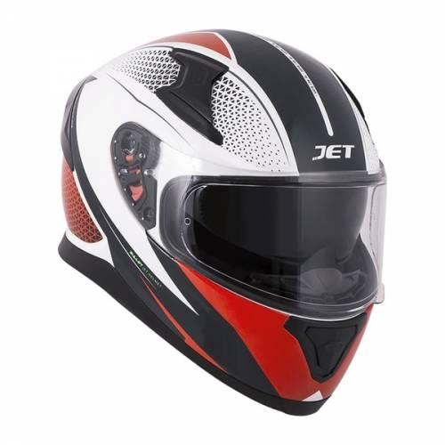 Cască Moto Integrală JET VOLT Bullet · Negru / Alb / Roșu
