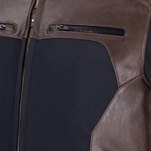 Geacă Moto din Piele & Textil BERING REX · Negru / Maro