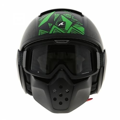 Cască Moto Open Face SHARK RAW DANTE · Verde / Negru
